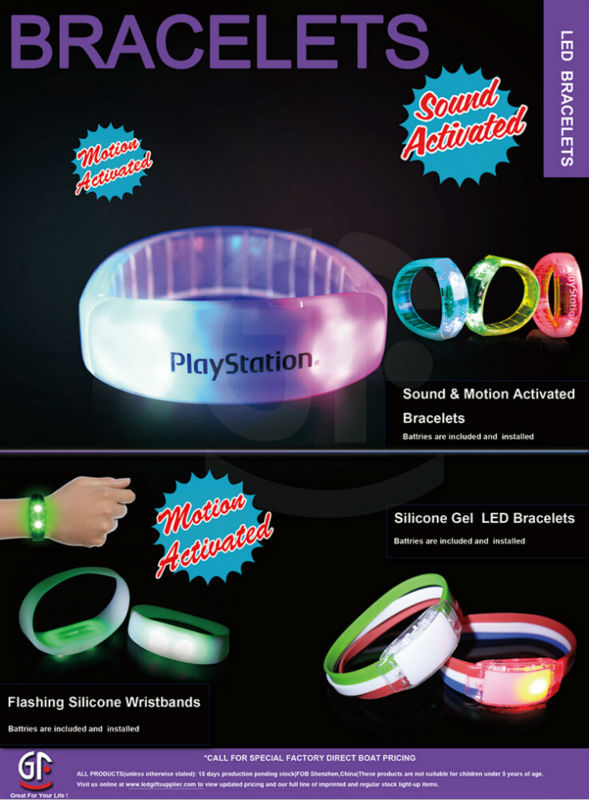 CE RoHS Approved Free Sample Cheap Custom Led Flashing Drive Bracelet