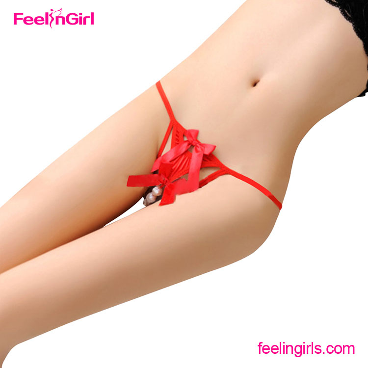 Hot Sale Red Cheap Pearls Women Underwear Sexy Panties G String