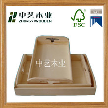 FSC&SA8000 approved wood crafts pine structure 1 set of 3 pieces wood tray serving tray fruit tray with carrying handle