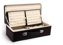 Luxury PU leather travel jewelry storage case for ring bracelet necklace with velvet lining