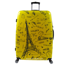 Eiffel tower print ABS/PC yellow luggage set beautiful color for multi usage