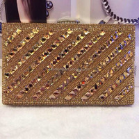Crystal Lady fashion Wedding Bridal Party Metal Case Box Clutch Bag