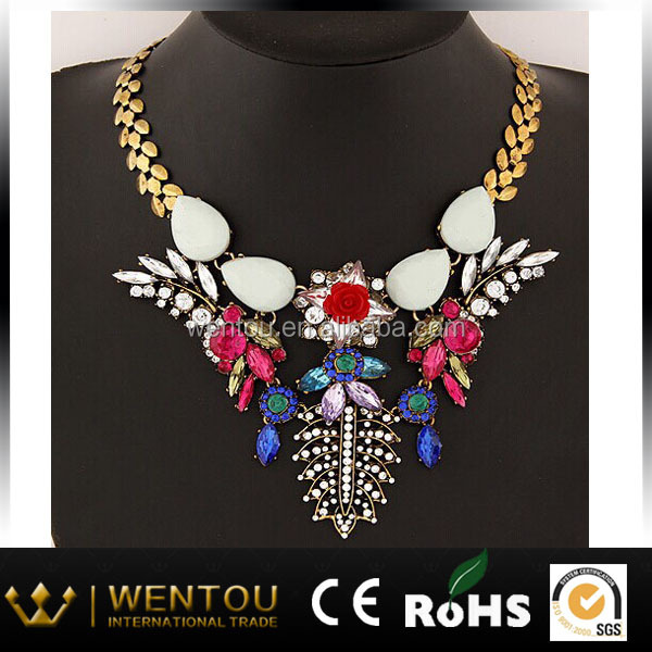 jewels multicolor crystal statement necklace