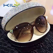 Handmade rhinestone sunglasses case for travel