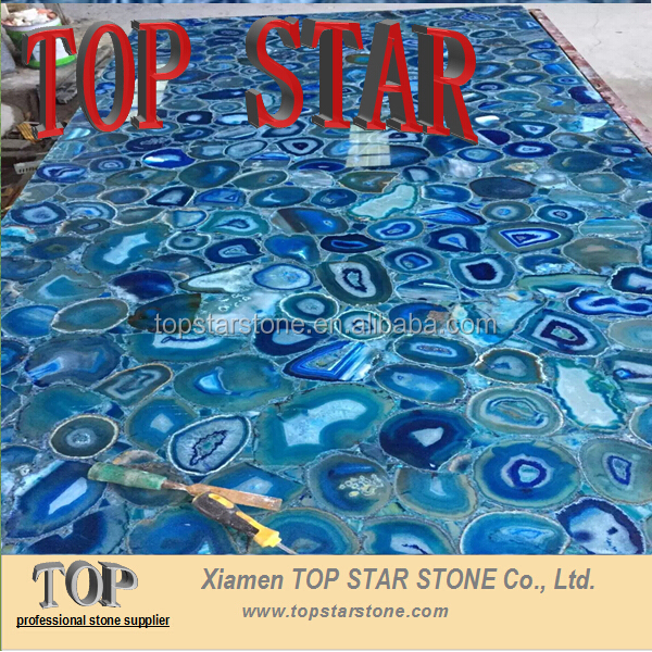 Cheap Natural semi precious stone blue agate table top countertop