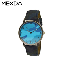 Japan movement blue camouflage dial military band leather watches sports men watches