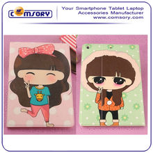 Folio Leather Stand Case Cover with cute girl cartoon for Apple iPad Air / iPad 5