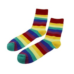 Hot sell 2016 quality cotton rainbow design happy socks men, men socks, happy socks men colorful