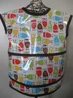 Non toxic Kids Art smock, waterproof Children's apron owls , children art smock for little art beginner