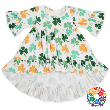 2017 New Arrival St.Patricks Day Baby Frock Clover Print Ruffle Dresses Soft Frock Designs For Small Girls