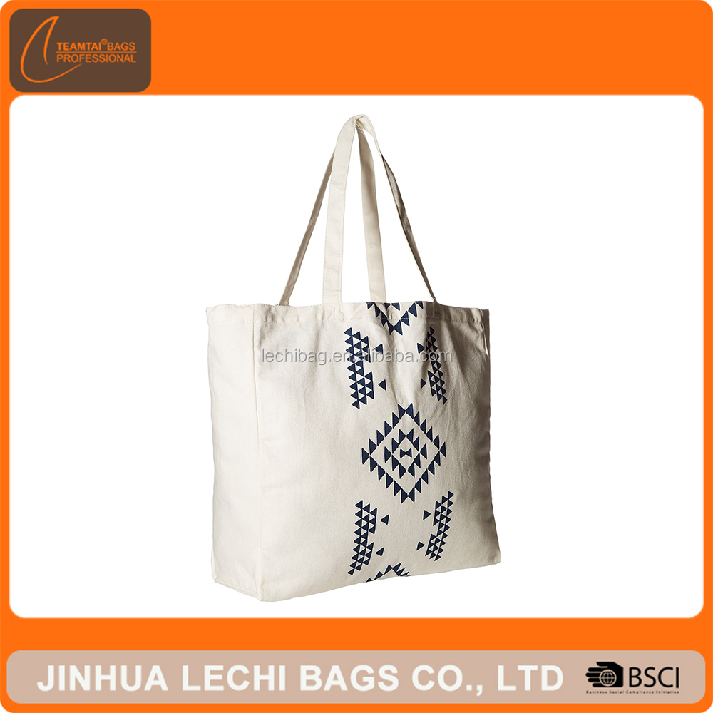 Eco geometric pattern oversize cotton canvas shopping tote bags