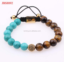 Natural Bali Turquoise and tiger eye bead friendship bracelet