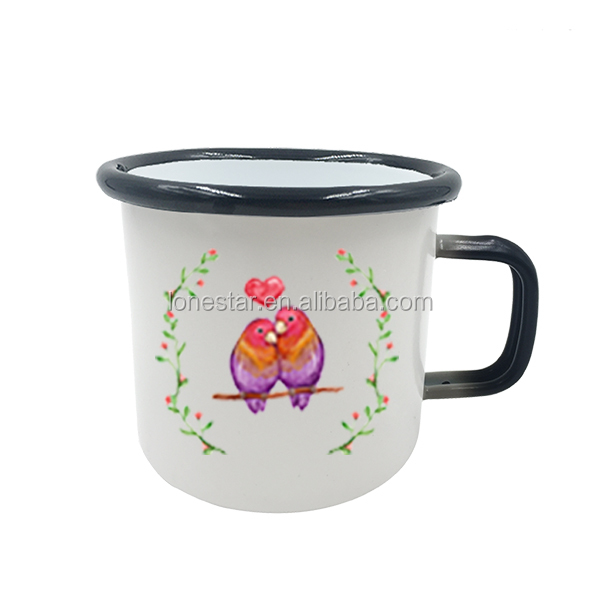 top selling products in alibaba 450ml orange design handle iron cast enamel hot color changingcup coffee mug for iron alloy