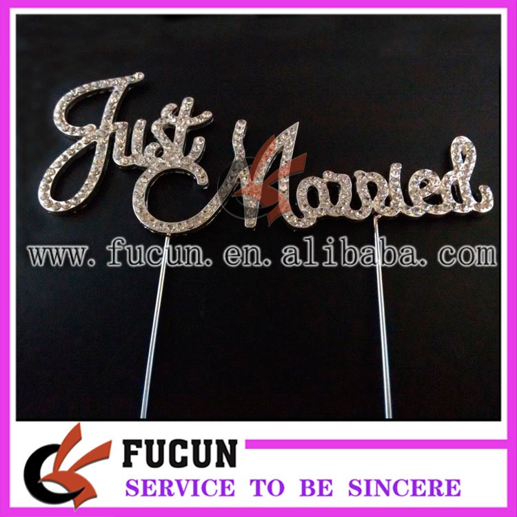 2016 gold plating wedding letter just married rhinestone cake topper