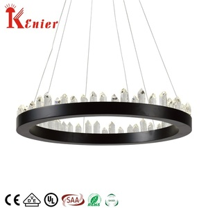 SAA black modern home rings crystal led ceiling light