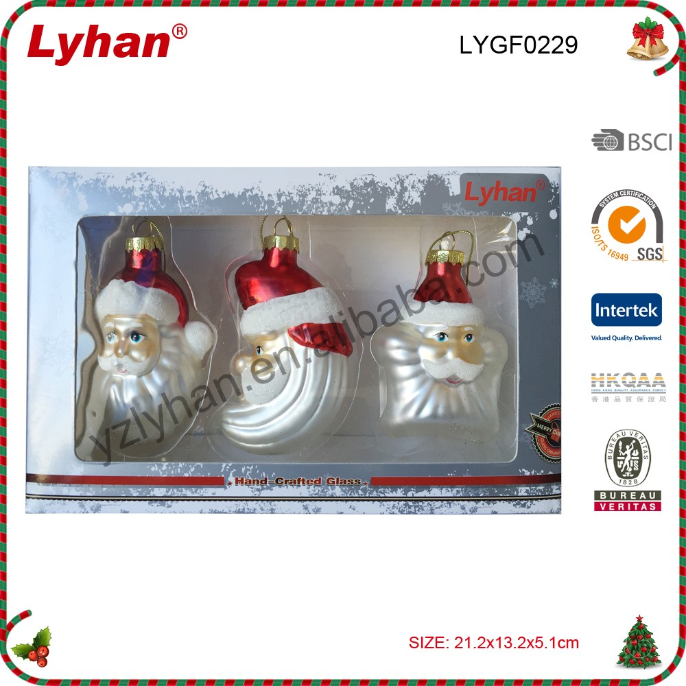 Lyhan wholesale glass santa in night scene 3 inches for christmas figurines