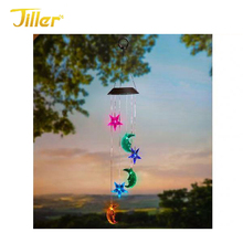 Party gift supplier solar hanging bird shape wind chimes spinner decorative metal night light