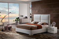 2016 Italian Leather With White Color King Size Comfortable Princess Bed For House or Hotel Use