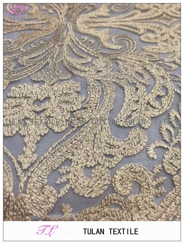 champagne floral embroidery tulle lace french lace for Bridal dress