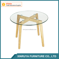 60cm round glass center table / wood leg coffee table