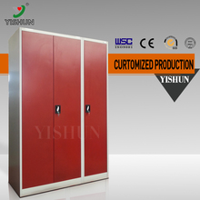 DIY easy to assemble Chinese folding clothes metal wardrobe/3 door steel wardrobe