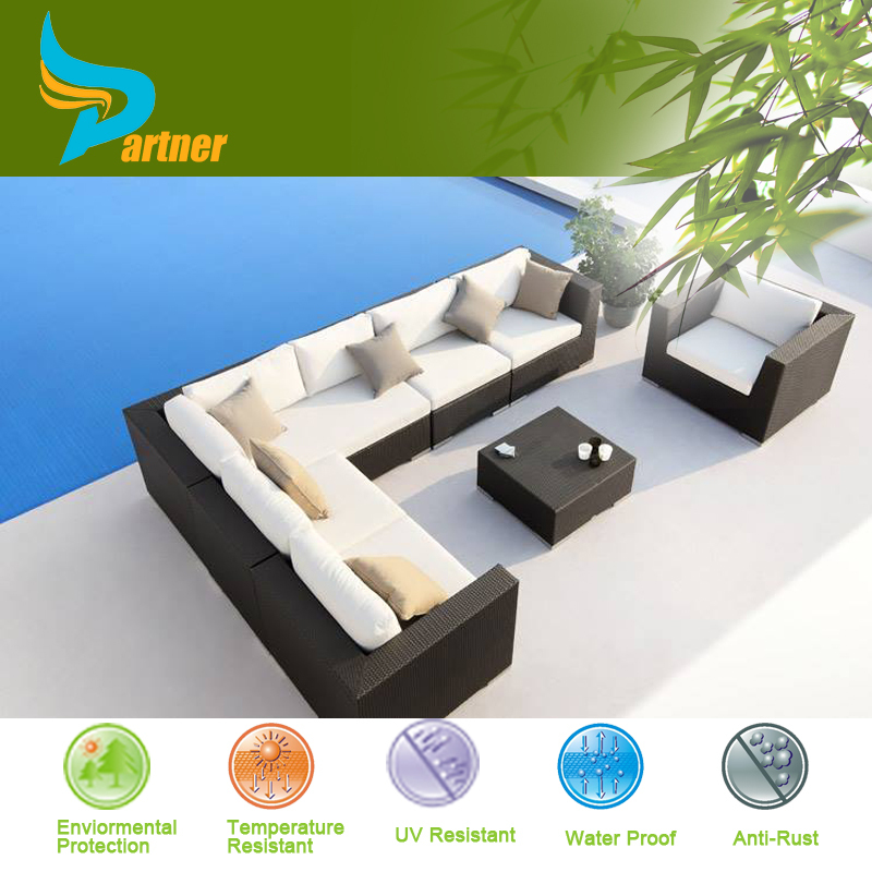 2015 Most Popular Exclusive Black 8 Pcs Outdoor Rattan Garden Furniture Spain