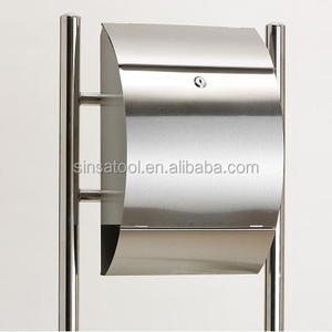 Free standing Stainless steel metal mailboxes with newspaper holder
