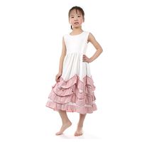 2016 hot sale USA girl children clothes lastest design long ivory cotton maxi dress with dust pink ruffle