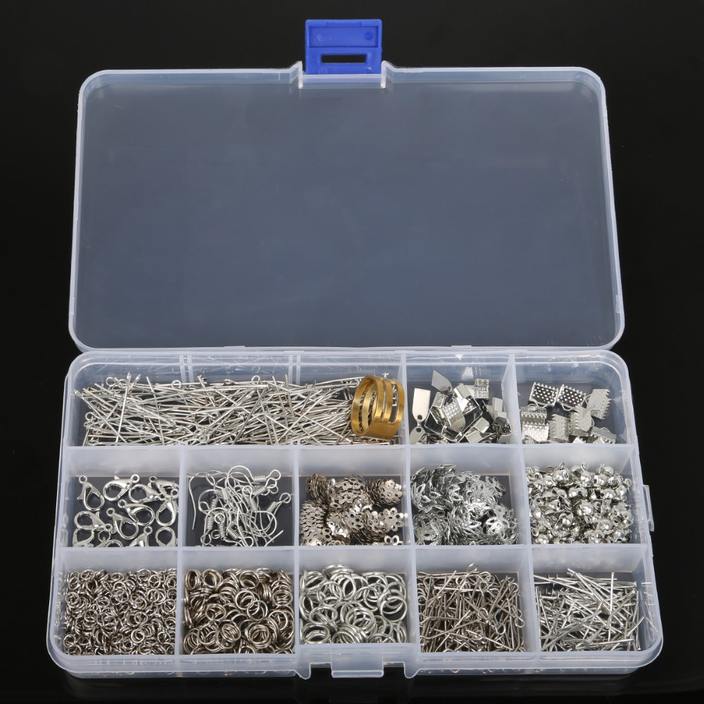 jewelry findings accessories kit box settings beaded pins clamping buckle set diy tool fashion charms jewelry