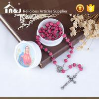 Customized design high quality olive wood cross rosary