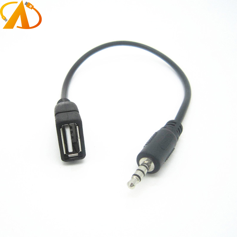 USB2.0 Female to AUX 3.5mm Male Jack Plug Audio Data Charge Cable adaper converter