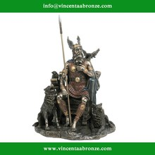 Bronze Odin Sitting with Wolves and Crows Fantasy Sculpture