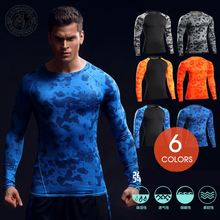 2017 printing fashion custom logo fitness gym wear men long sleeves jersey sport wear