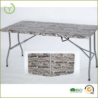 New product 152*70*74 cm suitcase folding table with camo finish top