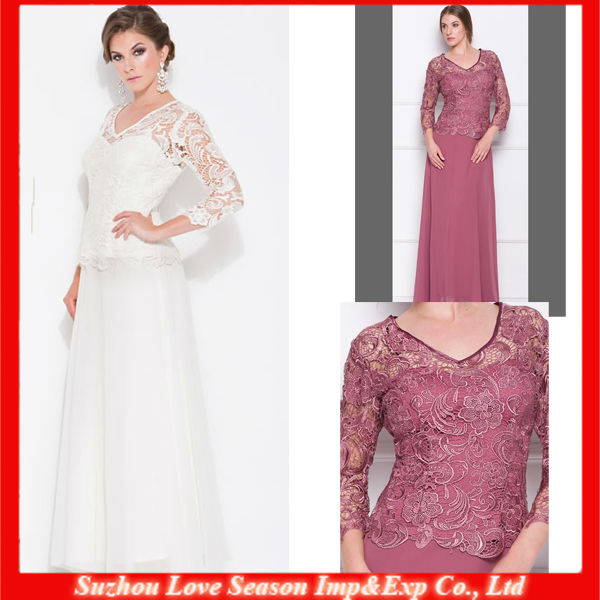 HM0024 Small V- neckline natural waist long sleeve chiffon long skirt vintage tall mother lace top mother of the bride dress