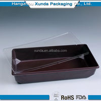 Plastic sushi packaging box with lid