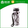 2015 Promotional plaid polyester cylindrical Cool Bag for Wine