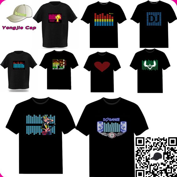 Nightclub DJ LED el flashing t shirt Sound Active Flashing LED tshirt Custom Your Own design EL LED T shirt