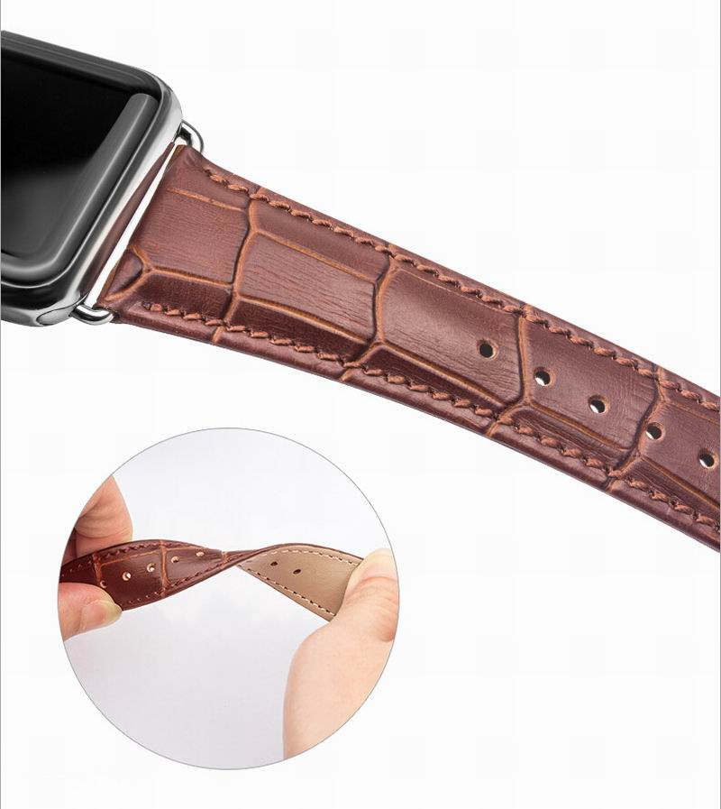 2018 QIALINO New 38/42mm genuine leather watch band for apple watch band sport with first layer cowhide