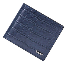 Mens genuine leather RFID blocking wallet with crocodile pattern 15732