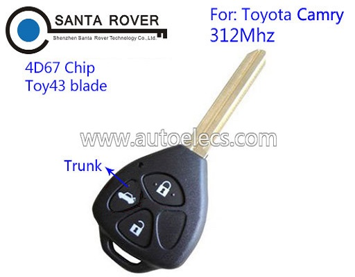 3 Button Keyless Entry Remote Key For Toyota Camry Remote Key 4D67 Chip 312Mhz(Trunk)
