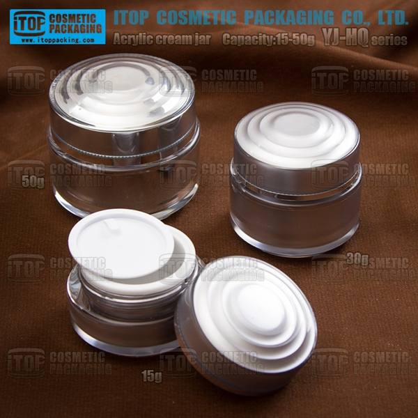 YJ-HQ Series plastic cap acrylic plastic cosmetic containers for cream