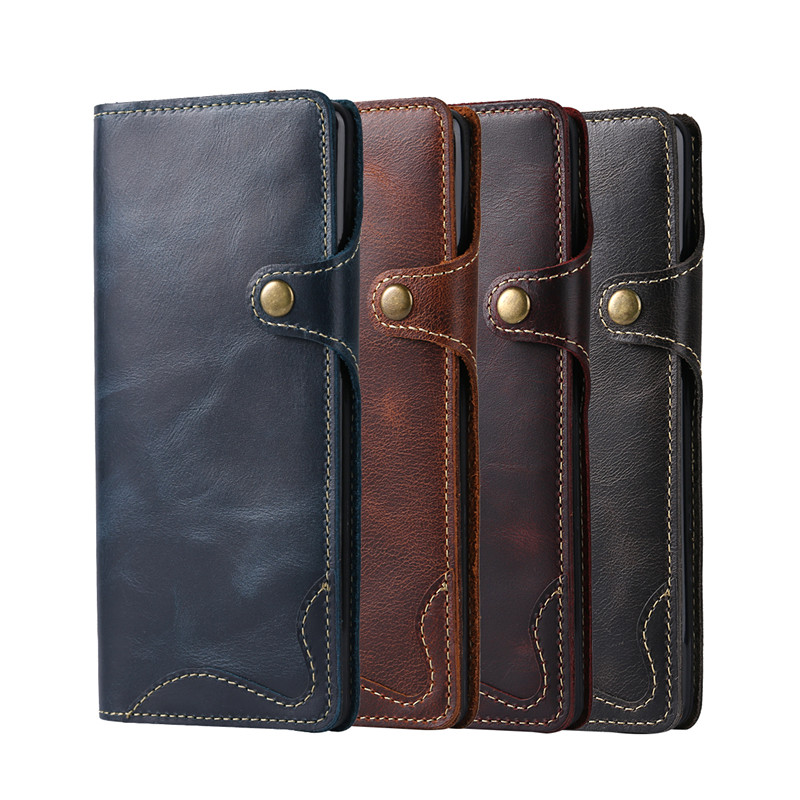 Button Card Holder Leather Flip Case for Samsung Galaxy Note 8 Genuine Leather Phone Case