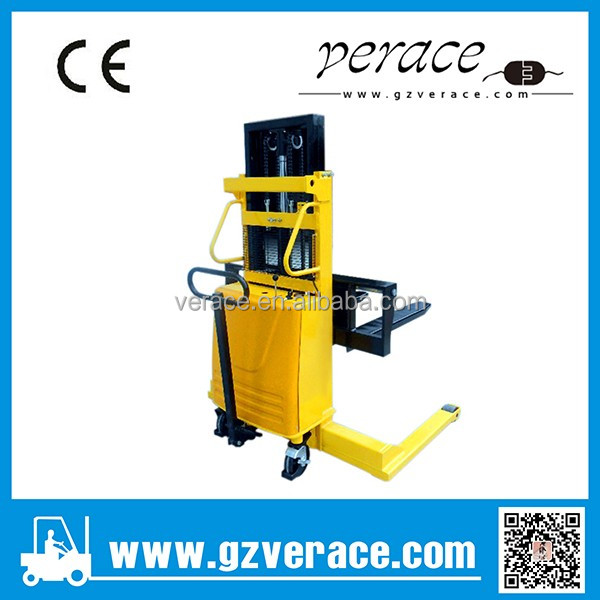 VR-ES 2 Ton 1.6M-4.5M half electric powered pallet stacker fork lift