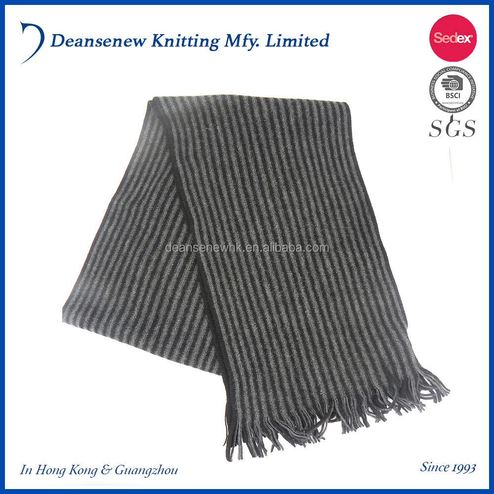 New European Custom Fashion Cheap 100% Merino Wool Stripe Fall Winter Warm Adult Men Teen Boy Multi Color Knit Scarf With Fringe