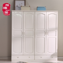 White four doors two drawers solid pine wardrobe storage closet