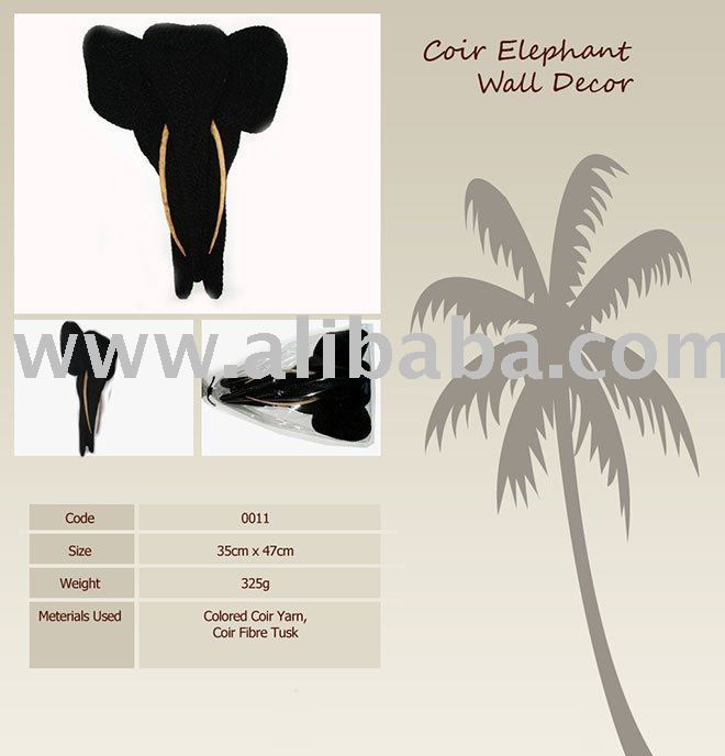 Coir Elephant Wall Decor