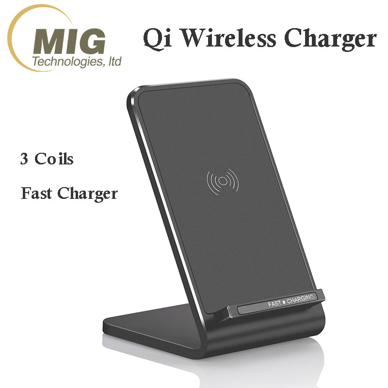 3 Coils Qi Wireless Charger Stand 9V 1.67A Fast Charging Pad Station for iphone charger for Samsung Wireless Charger