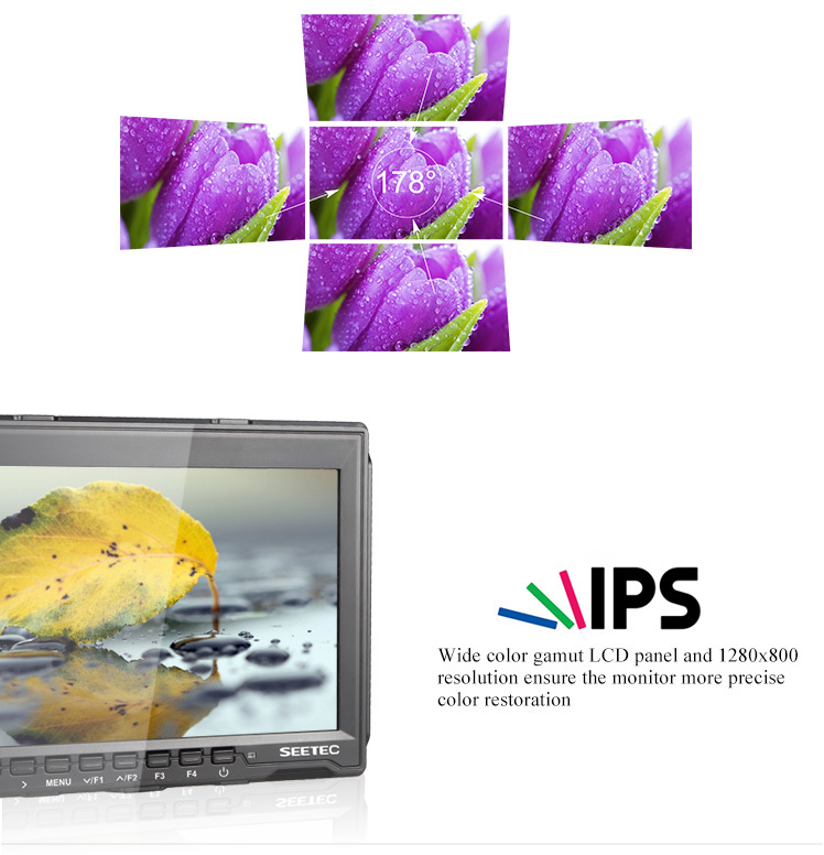 ultra thin 17mm IPS 7 inch Histogram ExposureZebra False Colors HDMI input and output monitor for full hd camera