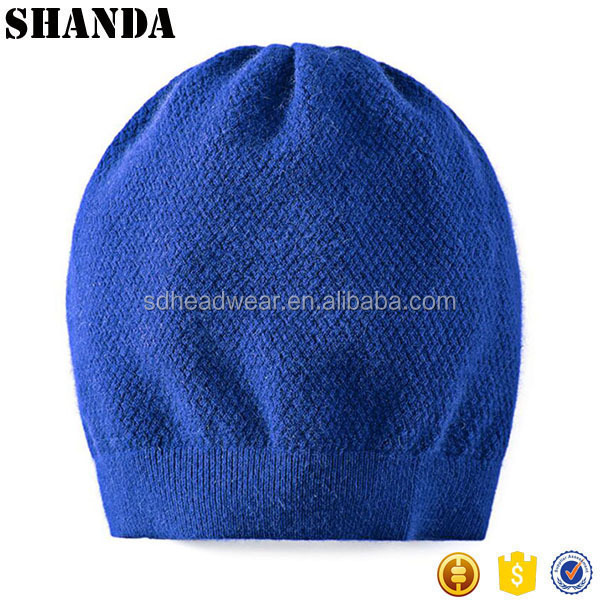 Soft comfortable merino wool long women baggy beanie cap knitted hat